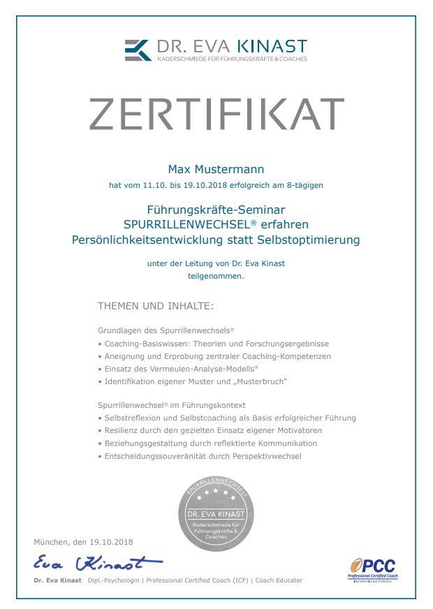 Zertifikat Dr. Eva Kinast